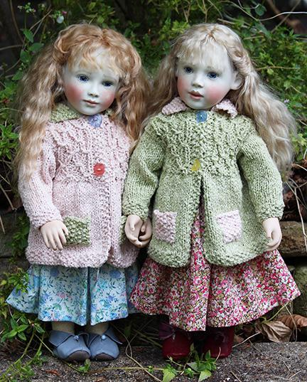 Gorgeous hand knitted cotton coats. Available in pink or green and designed to fit our dolls with the Elsie or Robyn body.
