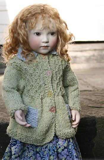 Hand knitted cotton coat, blue or green.