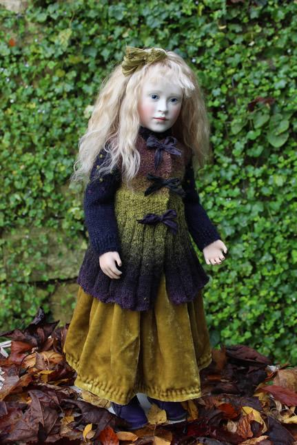 Lillian in green velvet skirt and waistcoat