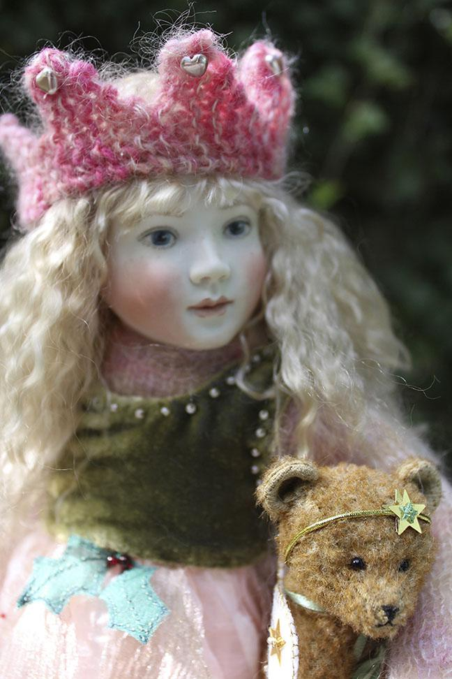 """Introducing our new cloth bodied doll for 2014, Pippa, 12"""" a big sister to Bessie and baby Bonnie. Here she is wearing her lovely Christmas Winter Fairy outfit. Lots of beautiful beaded silk velvet, silks and organzas with soft mohair knits. She also has a delightful mohair bear by Stella Topping. Pippa Winter Fairy has now sold out."""